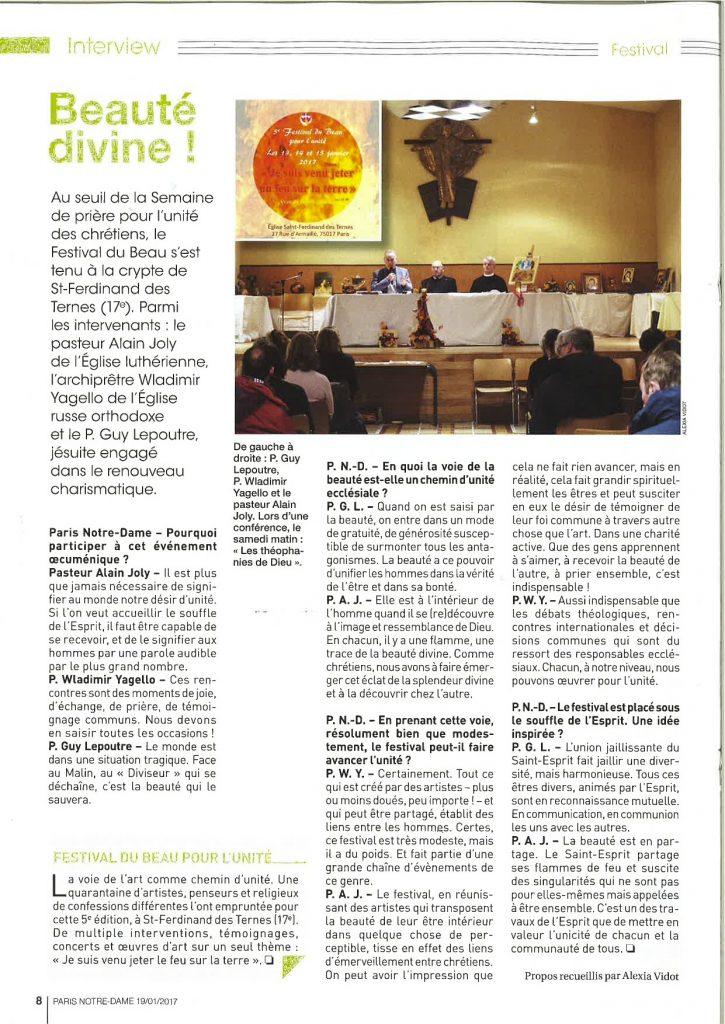 interview pasteur Joly Paris Notre Dame janvier 2017