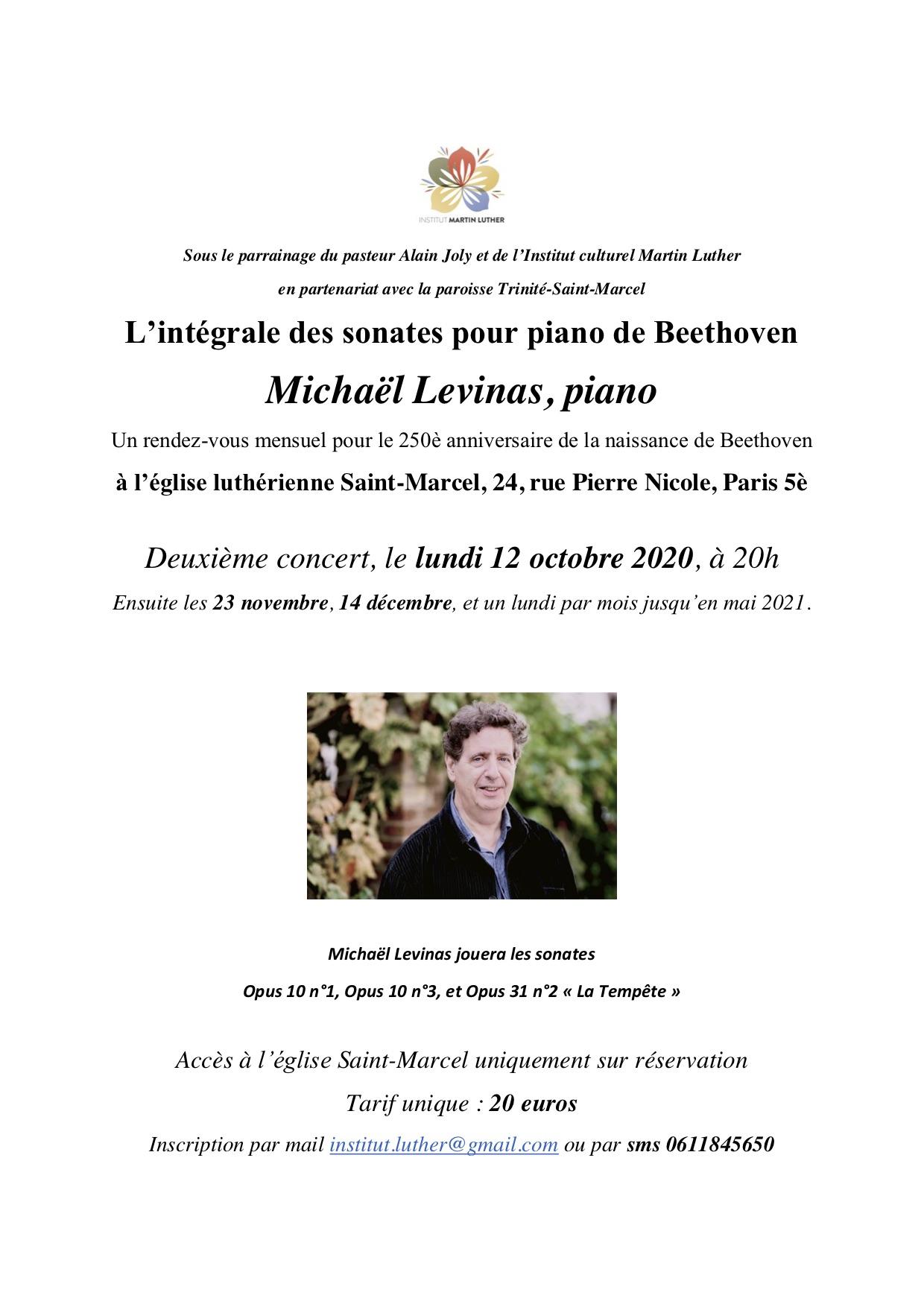 Beethoven Levinas 12 octobre 2020